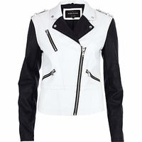 WHITE COLOR BLOCK BIKER JACKET