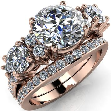 Brie Round Moissanite 3 Stone Accent Ring