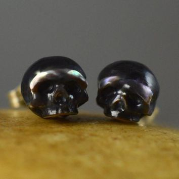 Large Hand Carved Pearl Black Skull Stud Earrings