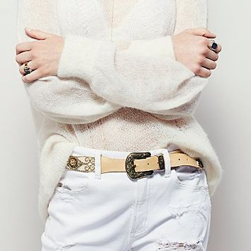 Free People Womens Embellished Western Belt