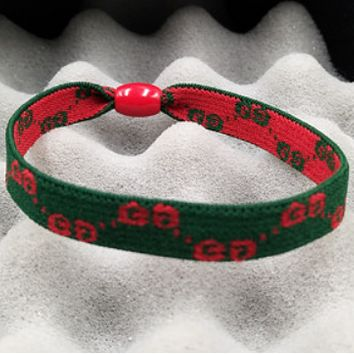 GUCCI high elastic hair rope hair accessories foundation hair ring hair elastic band F0305-1 Red&Green