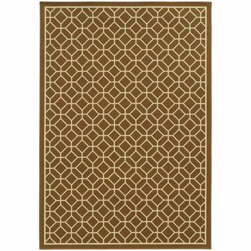 Riviera Brown Ivory Geometric Lattice Outdoor Rug