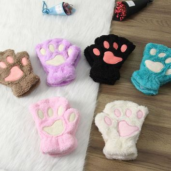 1 Pair Fluffy Plush Cat Paw Half Finger Gloves/Mittens 12 Colors