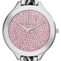 Women's Michael Kors 'Slim Runway' Pave Dial Chain Bracelet Watch, 43mm - Silver/ Pink