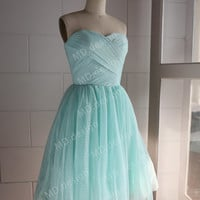 Mint Blue/ Navy Blue Polka Dots Tulle Wedding Dress Bridesmaid Dress Prom Dress Strapless Sweetheart Knee Short Dress