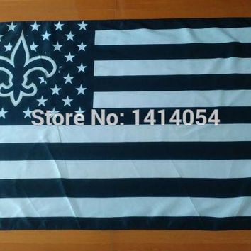 New Orleans Saints  Stripes And Stars white   Flag  150X90CM Banner 100D Polyester flag brass grommets 001, free shipping