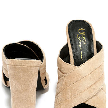 Retro Reveries Nude Suede Mules