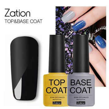 Zation Lucky Semi-permanent 8ml Cleansing Top and Base Coat Enamel UV Gel Nail P