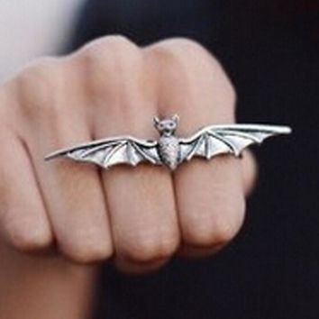 New Hottest New Design Concise Alloy Double Bat Ring Cool Men'S Punk Style Bat Rings