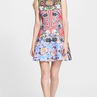 Women's Clover Canyon 'Floral Maze' Print Back Cutout Neoprene Fit & Flare Dress,