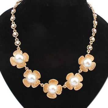 Gold Plated Pearl Floral Necklace