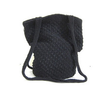 Vintage woven bucket bag. black boho bag / crochet knit handbag