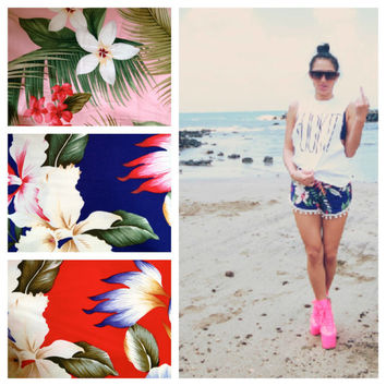 Aloha Print Pom Pom Shorts by wonderlandhonolulu on Etsy