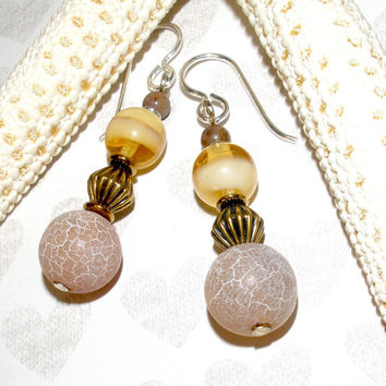 CHUNKY GEMSTONE EARRINGS, Handcrafted Drop Dangle Gemstone Earrings, Vintage Brass Agate Czech Glass, Silver Plated Earwires