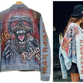 Hand painted IRON MAIDEN jeans JACKET for rocker//denim jacket//studded//with studs//rock jacket//levis jacket//radio hell//666//