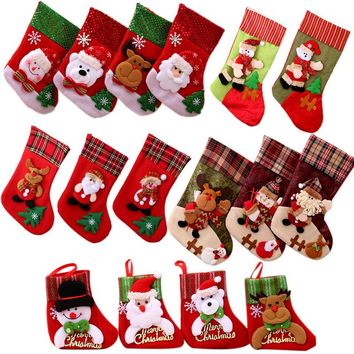New Year Christmas Decoration Stockings Santa Claus Sock Gift Kids Candy Bag Chirstmas Xmas Tree Hanging Ornament Home Decorate