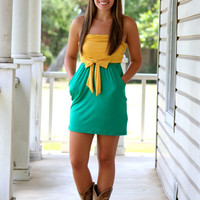 50 Yardline Gameday Dress- Green and Gold