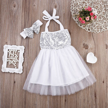 New Girls Toddler Baby Sleeveless Sequined Princess Party Dress Bow Headband Flower Tutu Mini Dresses Summer