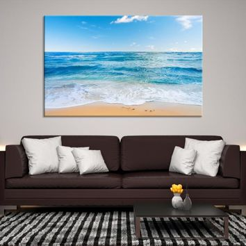 38312 - Small Waves on Beach and Blue Sky Wall Art Canvas Print