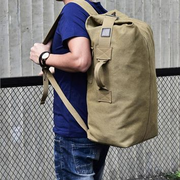 2017 Multi-purpose Military Canvas Backpack Solid Color Men Weekend Sports Travel Duffle Bags Outdoor Tactical Rucksack