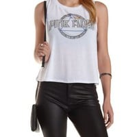 White Pink Floyd Graphic Caged Muscle Tee by Charlotte Russe