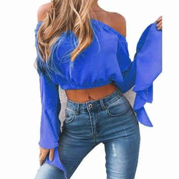 strapless blouse tube top ruffle sleeve Elegant crop tops solid off shoulder tops chiffon shirt blusas