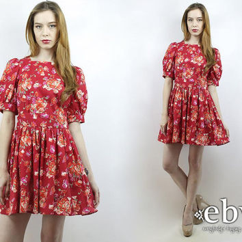 Vintage 90s Laura Ashley Puff Sleeve Red Floral Mini Tea Party Dress S Laura Ashley Dress Floral Dress Tea Dress Summer Dress Dolly Dress