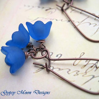 Electric Blue Flower earrings Nature jewelry