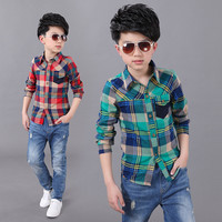 Hot sale childrens plaid style kids high fashion clothing boys button shirt kids check shirts with long sleeves