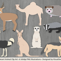 Desert Animal Clip Art, Wild Animals Clipart, Antelope, Camel, Hedgehog, Meerkat, Ostrich, Kangaroo, Badger, Jackal, Wildlife Clipart Images