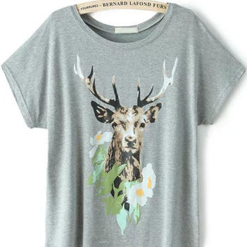 Grey Short Sleeve Deer Print Graphic T-Shirt