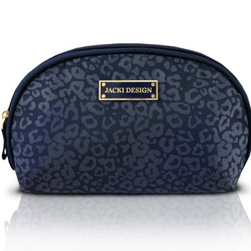 Leopard Print Cosmetic Toiletry Travel Makeup Bag Blue