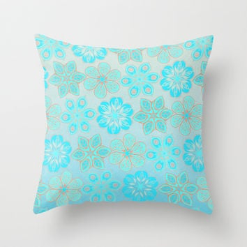 Aqua & Grey Floral Tropical Pattern Throw Pillow by micklyn