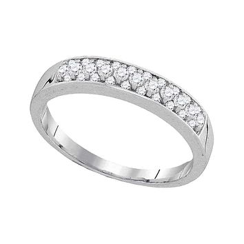 10kt White Gold Women's Round Pave-set Diamond Single Row Wedding Band 1/4 Cttw - FREE Shipping (US/CAN)
