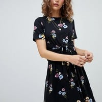 Warehouse Poppy Bunch Twist Front Skater Dress at asos.com