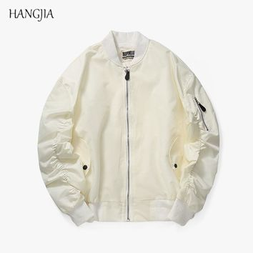Kanye West Anarchic Outwear Autumn Winter MA1 Bomber Jacket Streetwear Mens Solid Color Elastic Pleated Sleeves Baseball Uniform