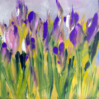 Amongst Irises. Flower Garden Landscape Original monotype hand pulled print painting with Mat