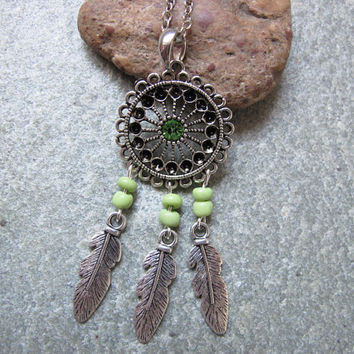 Antique Silver Dream Catcher Necklace , Feather Necklace,Light Green Beads Necklace ,Native American Jewelry