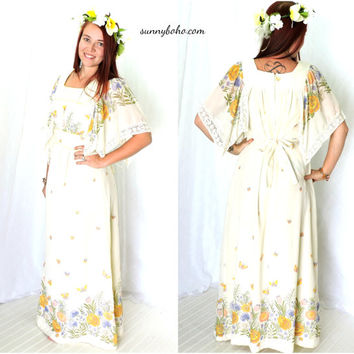 Vintage 70s hippie flower child dress S / M 1970s boho maxi dress  long bohemian floral festival dress baby doll maxi dress SunnyBohoVintage