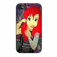Ariel Little Mermaid Tattoo With Flower Cover iPhone 4s Case