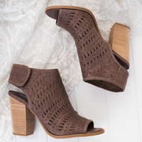 No Turning Back Cutout Detail Heeled Booties (Taupe)