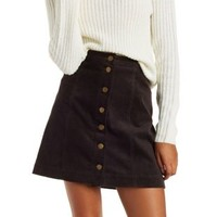 Dark Brown Button-Up Corduroy Skirt by Charlotte Russe