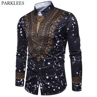 Mens Hipster African Tribal Dashiki Dress Shirts Long Sleeve Slim Fit Casual Button Down Shirt Men African Traditional Clothing