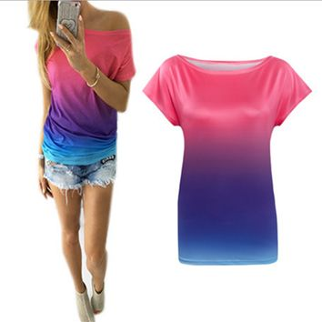 Fashion color Gradation Personalized printed T-shirt