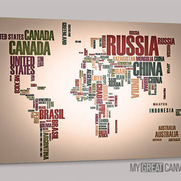 Typography World Map Canvas Prints | Wall Art Map Canvas | Type World Map Canvas Painting
