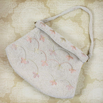Vintage 1960s White Beaded and Tambour Embroidered Floral Walborg Purse