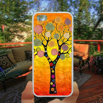Colorful painted tree oil painting iphone 4/4s case iphone 5/5s/5c case samsung galaxy s3/s4 case galaxy S5 case Waterproof gift case 457