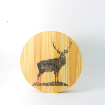 Wooden Deer Home Decor, 5X5 Round Sign, Small Free Standing or Wall Mounted, Rustic and Chic