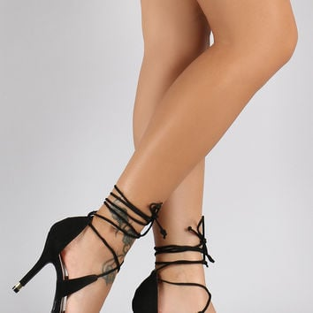 Qupid Corset Lace Up Vegan Snake Pointy Toe Pump