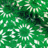New design green hollow out heavy lace fabric for Prom Dress, Skirt,Wedding Gown,Formal dress, High quality 3D lace fabric